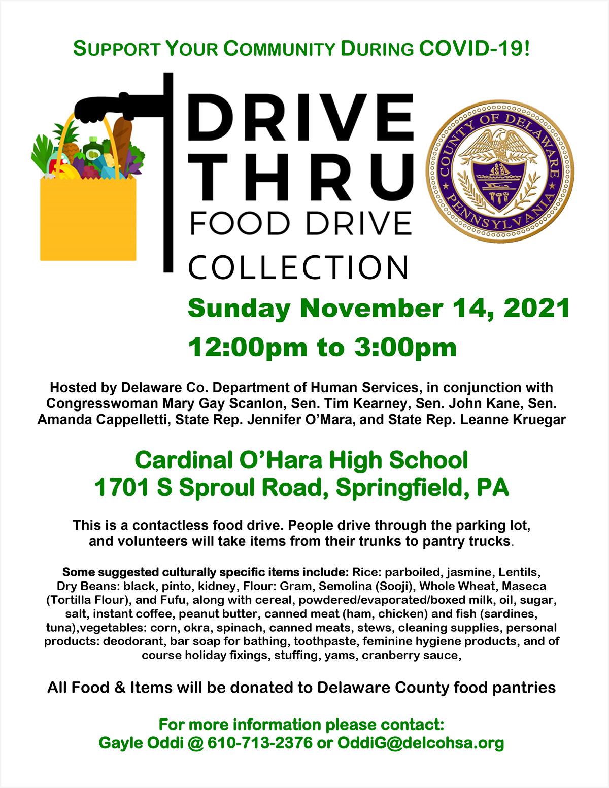 Drive Thru Food Drive Collection - November 14, 2021